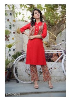 red kurta set