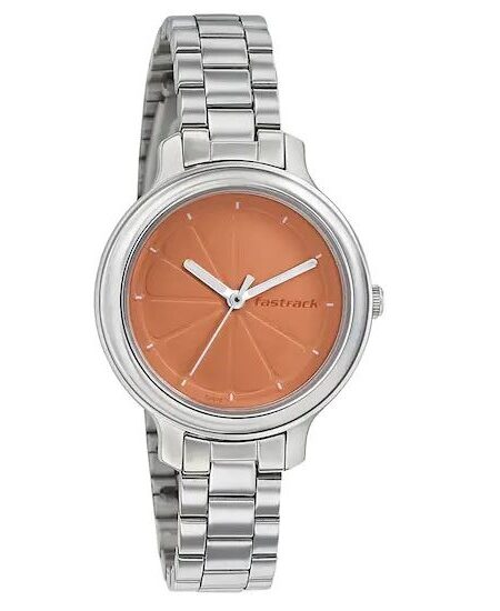 ORANGE DIAL STAINLESS STEEL STRAP WATCH