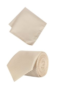 Peter England Beige Tie and Pocket Square