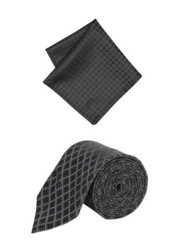 Peter England Black Tie and Pocket Square