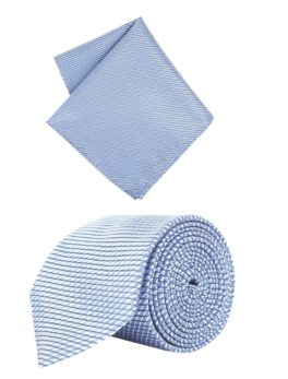 Peter England Blue Tie and Pocket Square