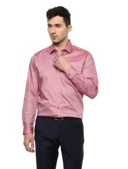 Peter England Maroon Full Sleeves Formal Shirt