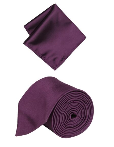 Peter England Purple Tie and Pocket Square