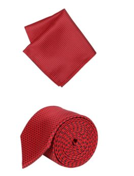 Peter England Red Tie and Pocket Square (Red)
