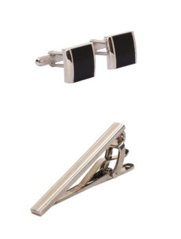 Peter England Silver Cufflink And Tie Pin
