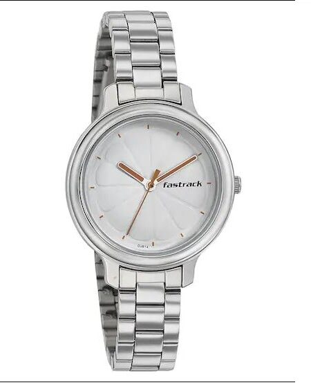 WHITE DIAL STAINLESS STEEL STRAP WATCH