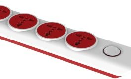 Gold Medal I-Design 4x1 4 Socket Extension Boards (White, Red)