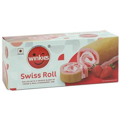 Winkies Swiss Roll – Cream & Real Strawberry Jam, 185 g