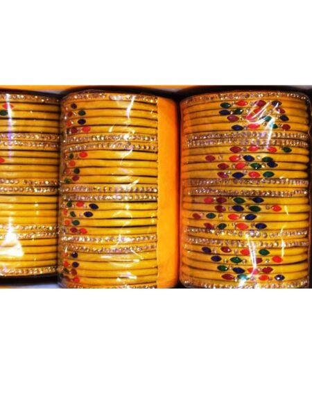 Bangles For Dark Yellow Dash & Red Orange Blue Dotted Design