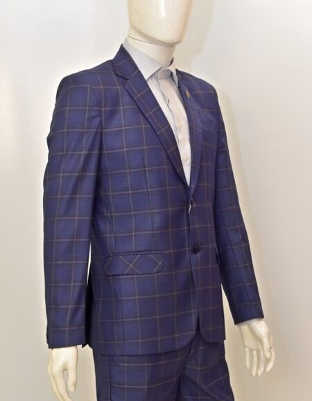 Men Blue Checks Formal Suit