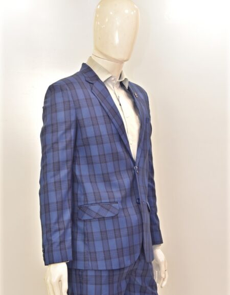Men Navy Blue Checks Formal Suit