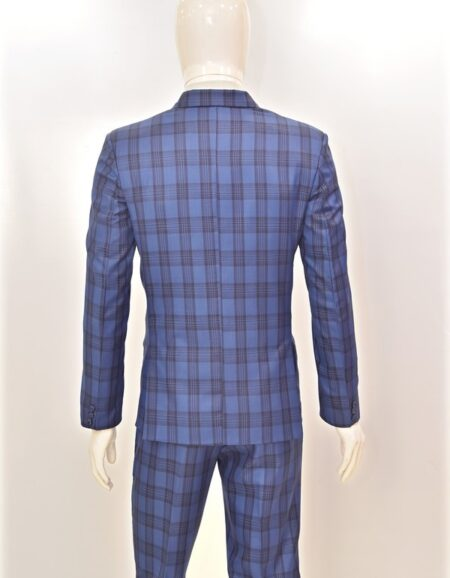 Men Navy Blue Checks Formal Suit 6